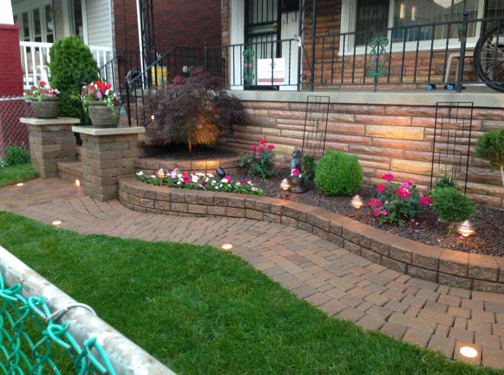brick raised flower beds