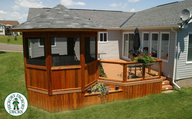 Deck with screened gazebo interesting ideas for home for House plans with gazebo porch