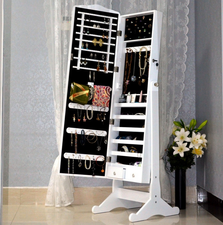 floor mirror with jewelry armoire