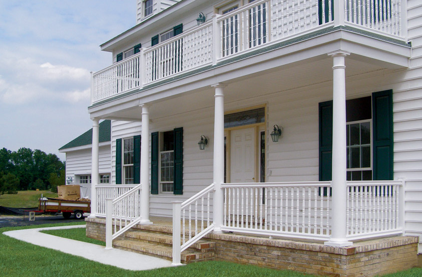 Front porch wood railing interesting ideas for home for Exterior house columns design