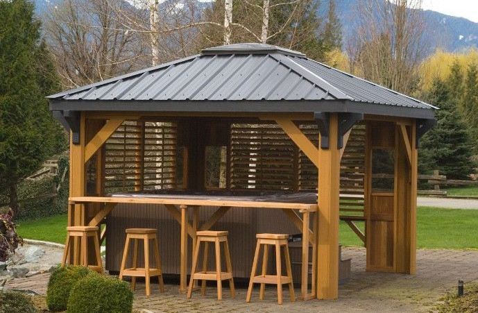 Hot tub gazebo with bar interesting ideas for home for Diy hot tub gazebo