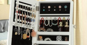 locking mirror jewelry armoire