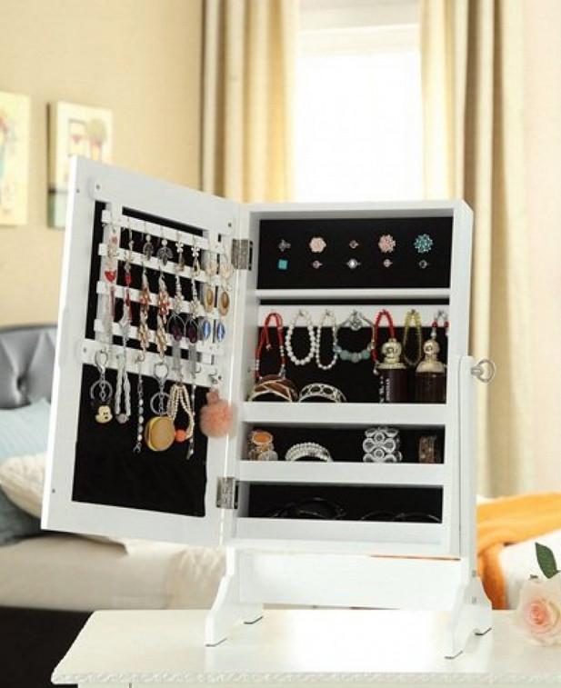 locking mirror jewelry armoire