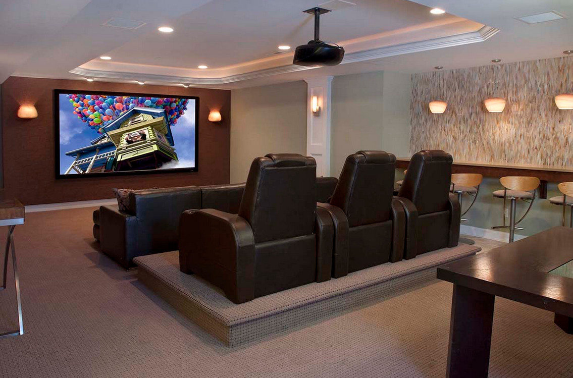 Media room furniture seating interesting ideas for home for House plans with media room