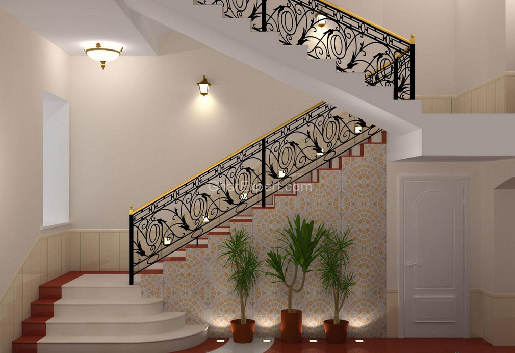 Ornamental iron stair railings interesting ideas for home for Interior iron railing designs