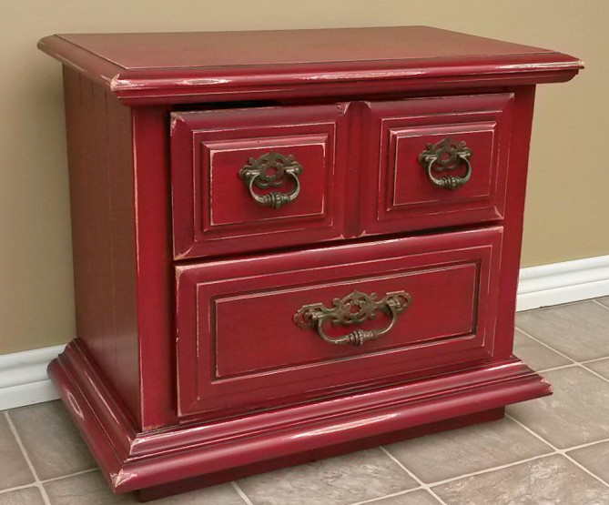 painting furniture red distressed
