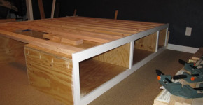 raised wooden bed frame