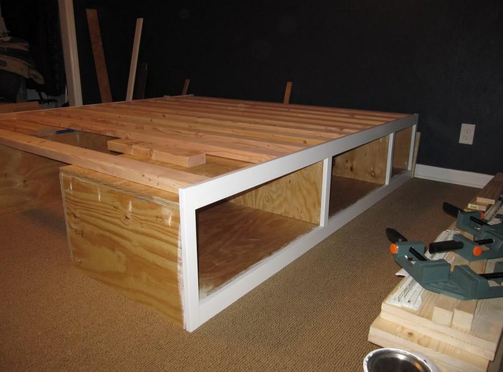 raised wooden bed frame