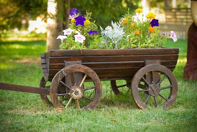rustic wooden planter boxes