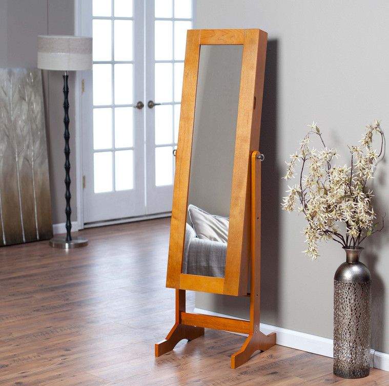 standing jewelry armoire mirror
