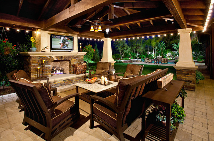 Covered patios with fireplaces interesting ideas for home for Outdoor room with fireplace