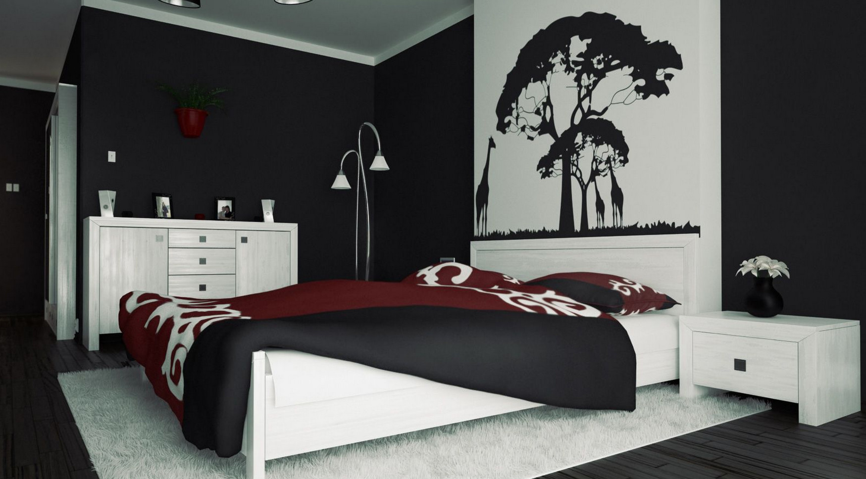 Exceptional Red Bedroom Wall Painting Ideas Part - 9: Red And Black Wall Painting